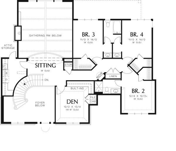 European Floor Plan - Upper Floor Plan Plan #48-618