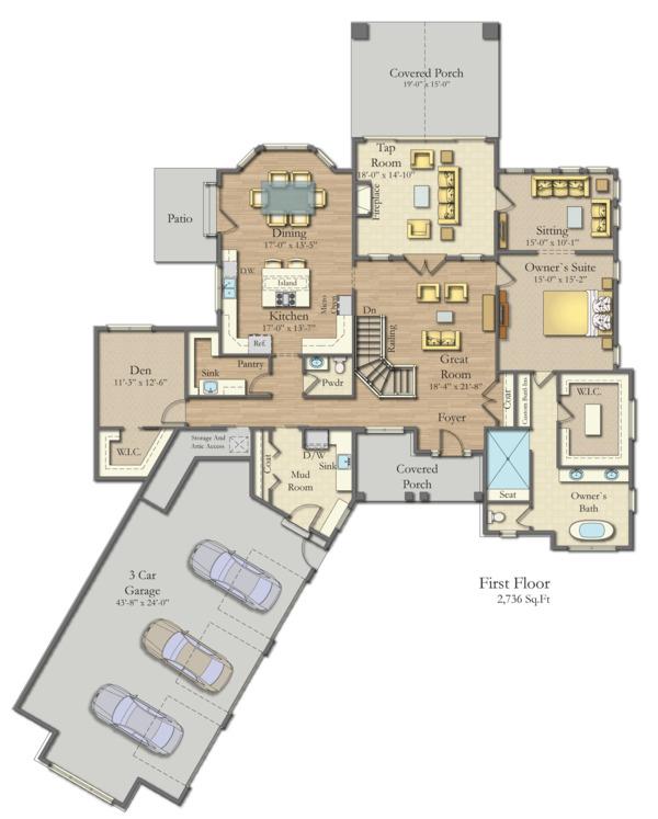 Craftsman Floor Plan - Main Floor Plan Plan #1057-17