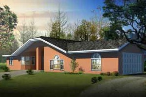 Ranch Exterior - Front Elevation Plan #1-1281