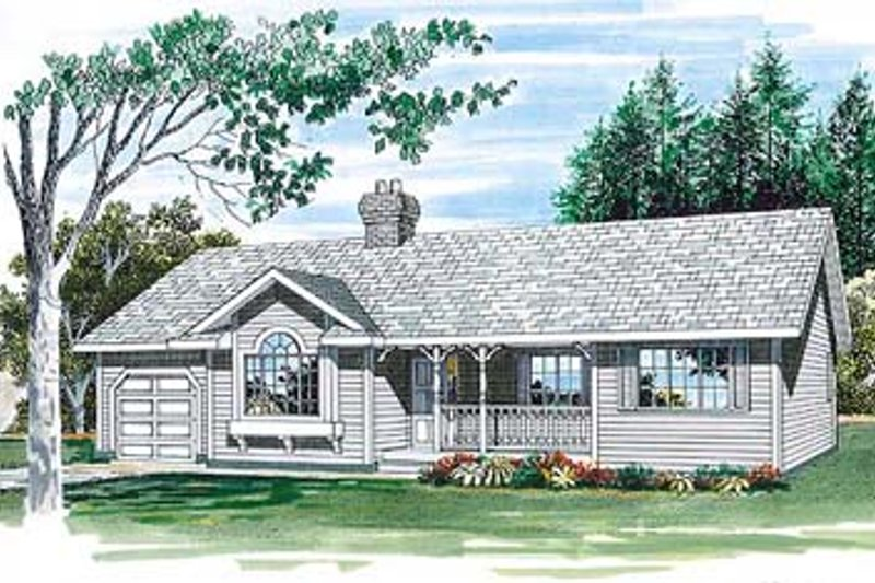 Ranch Style House Plan - 3 Beds 2 Baths 1233 Sq/Ft Plan #47-233 Exterior - Front Elevation