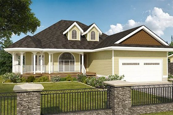 Country Exterior - Front Elevation Plan #126-130