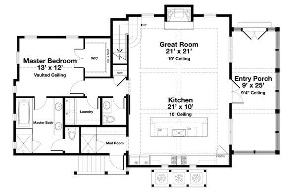 Beach Floor Plan - Main Floor Plan #443-20