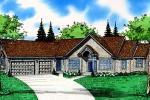 Architectural House Design - Traditional Exterior - Front Elevation Plan #405-217