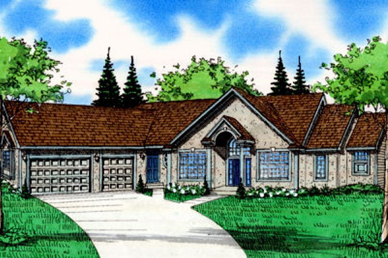 Traditional Exterior - Front Elevation Plan #405-217 - Houseplans.com