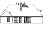 Traditional Style House Plan - 3 Beds 2 Baths 1670 Sq/Ft Plan #34-106 Exterior - Rear Elevation