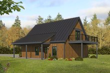 Cabin Exterior - Rear Elevation Plan #932-285