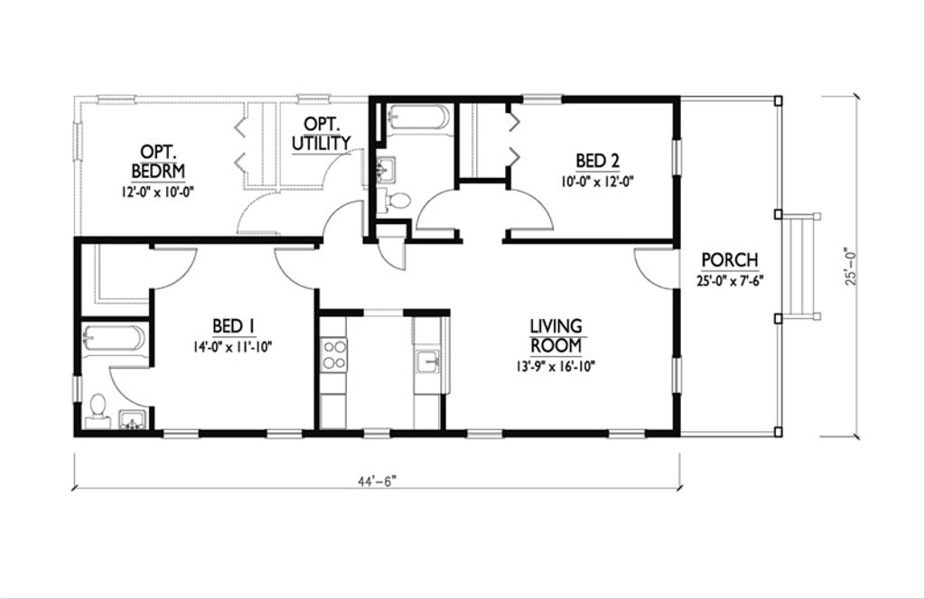 Cottage Style House Plan - 2 Beds 2 Baths 888 Sq/Ft Plan #514-11 on 2 bedroom house house plans, studio style house plans, bungalow style house plans, english tudor style house plans, 2 bedroom ranch house plans,