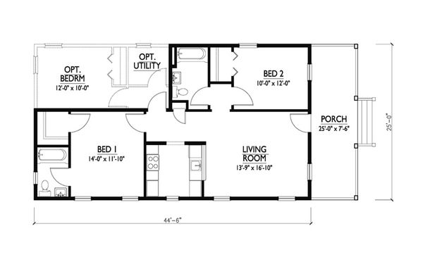 Cottage Style House Plan - 2 Beds 2 Baths 888 Sq/Ft Plan #514-11 Floor Plan - Main Floor Plan