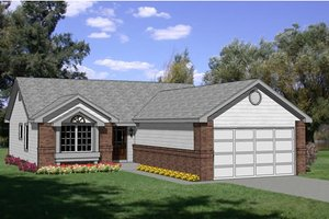 Ranch Exterior - Front Elevation Plan #116-157