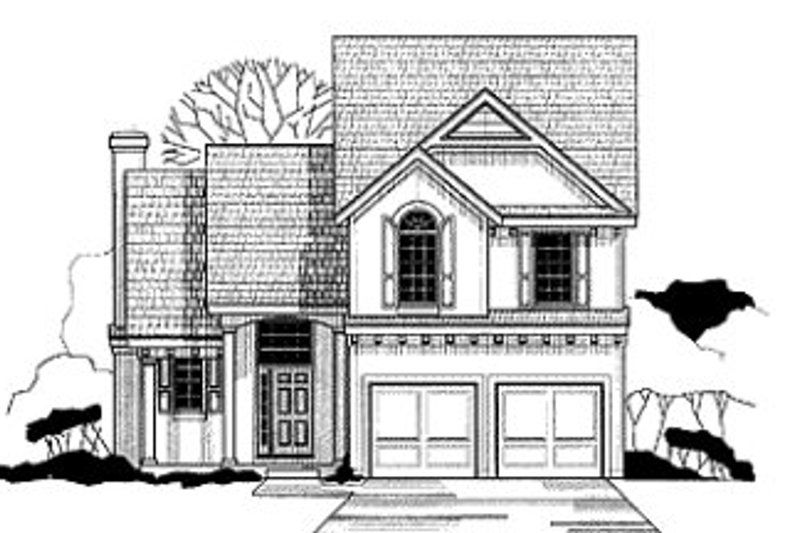 European Style House Plan - 3 Beds 2.5 Baths 1644 Sq/Ft Plan #67-122 Exterior - Front Elevation