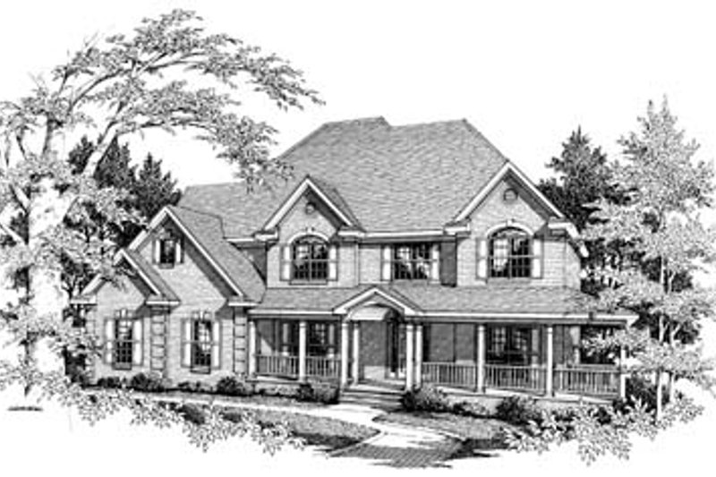 Country Style House Plan - 4 Beds 4 Baths 3054 Sq/Ft Plan #10-221 Exterior - Front Elevation
