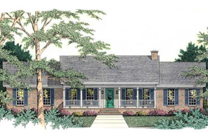 Ranch Style House Plan - 3 Beds 2 Baths 1689 Sq/Ft Plan #406-232 Exterior - Front Elevation