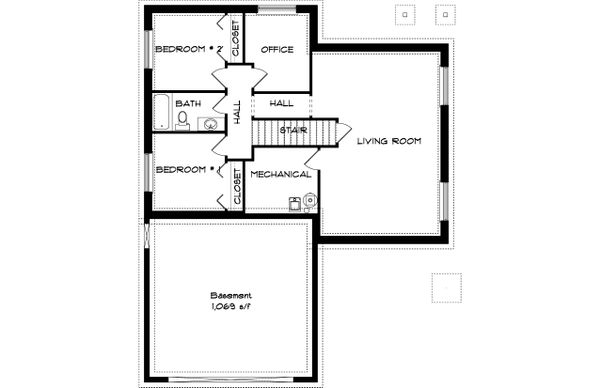 Traditional Floor Plan - Lower Floor Plan #1060-54