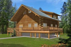 Log Exterior - Front Elevation Plan #117-496