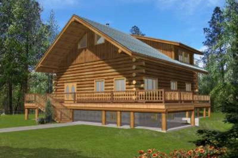 Log Style House Plan - 2 Beds 3 Baths 3489 Sq/Ft Plan #117-496 Exterior - Front Elevation