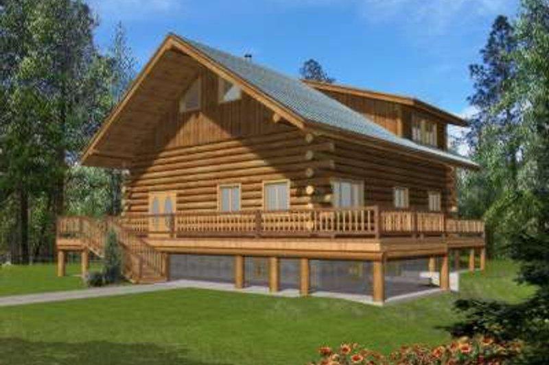 Home Plan - Log Exterior - Front Elevation Plan #117-496