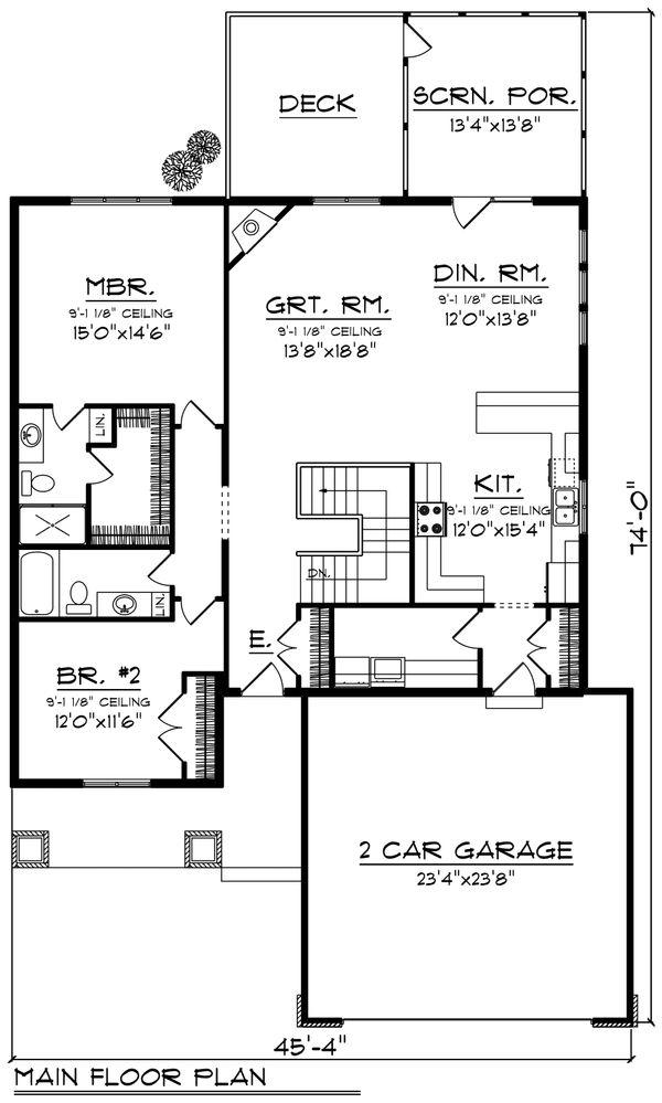Ranch Floor Plan - Main Floor Plan Plan #70-1190