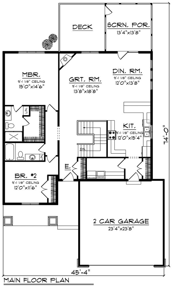 Ranch Floor Plan - Main Floor Plan Plan #70-1190
