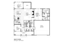 Traditional style house plan, Craftsman and bungalow details, main level floor plan