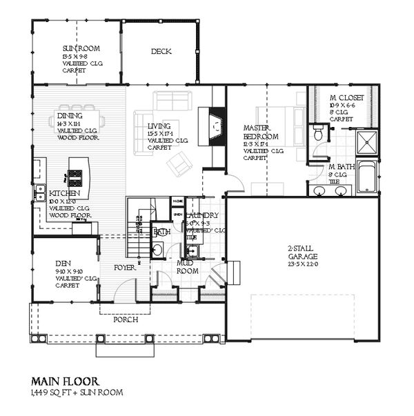 Architectural House Design - Traditional style house plan, Craftsman and bungalow details, main level floor plan