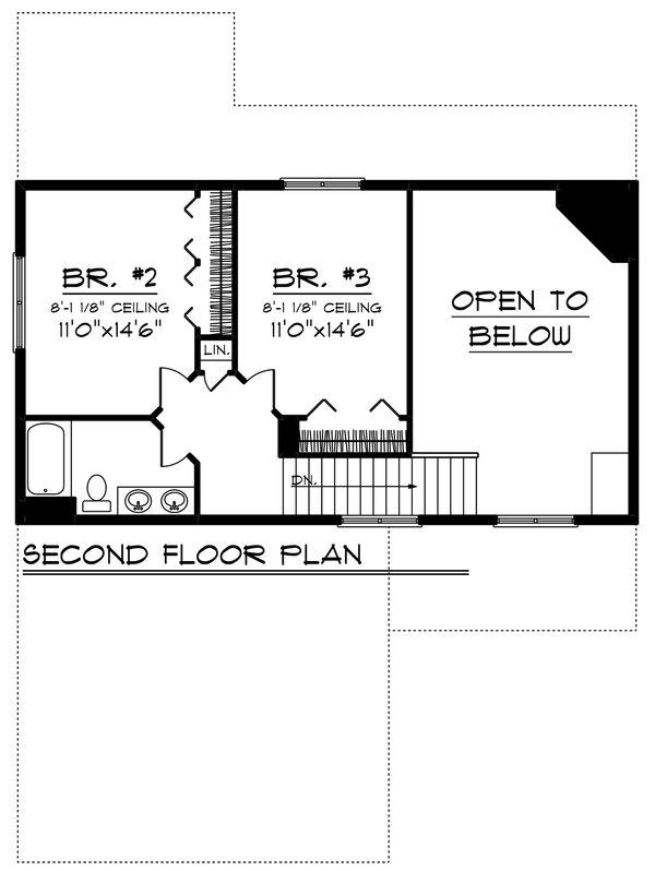 Craftsman Floor Plan - Upper Floor Plan Plan #70-1239