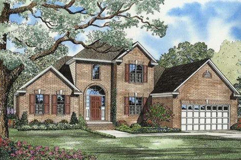 Southern Style House Plan - 3 Beds 2.5 Baths 1635 Sq/Ft Plan #17-543 Exterior - Front Elevation