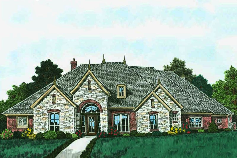 European Style House Plan - 3 Beds 3.5 Baths 3619 Sq/Ft Plan #310-1310 Exterior - Front Elevation