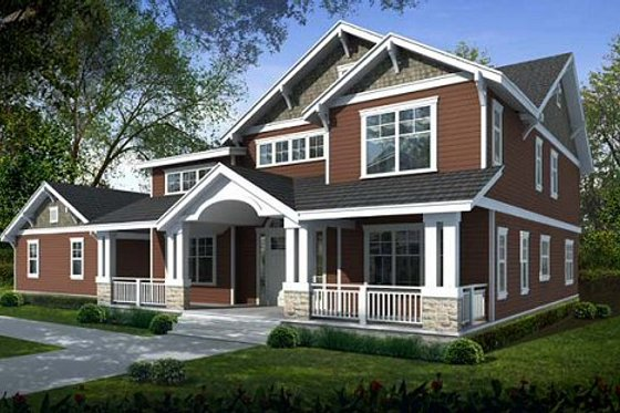 Craftsman Exterior - Front Elevation Plan #100-504