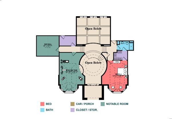 Colonial Floor Plan - Upper Floor Plan Plan #63-426