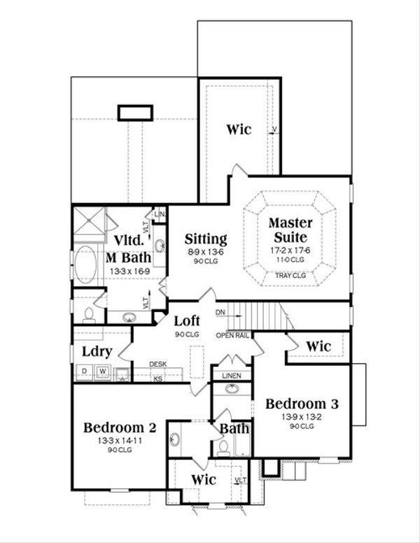 Traditional Floor Plan - Upper Floor Plan Plan #419-246