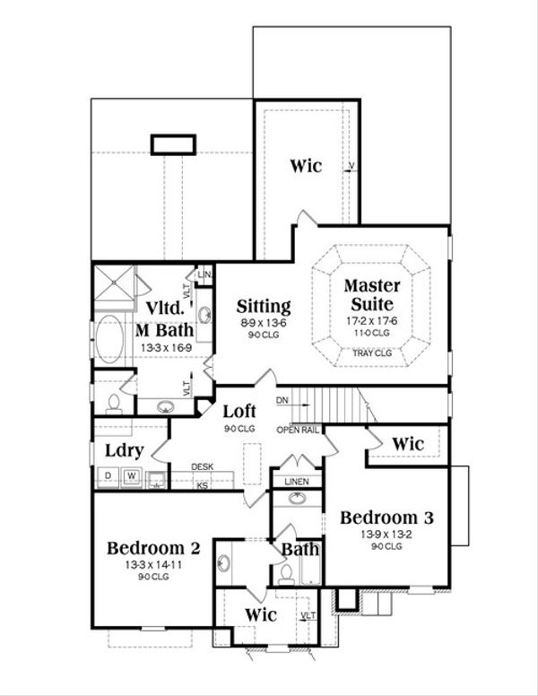 Traditional Floor Plan - Upper Floor Plan Plan #419-246