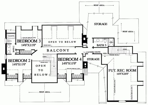 Southern Floor Plan - Upper Floor Plan Plan #137-102
