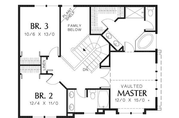 Country Floor Plan - Upper Floor Plan Plan #48-139