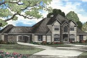 European Style House Plan - 4 Beds 4.5 Baths 3818 Sq/Ft Plan #17-2040 Exterior - Front Elevation