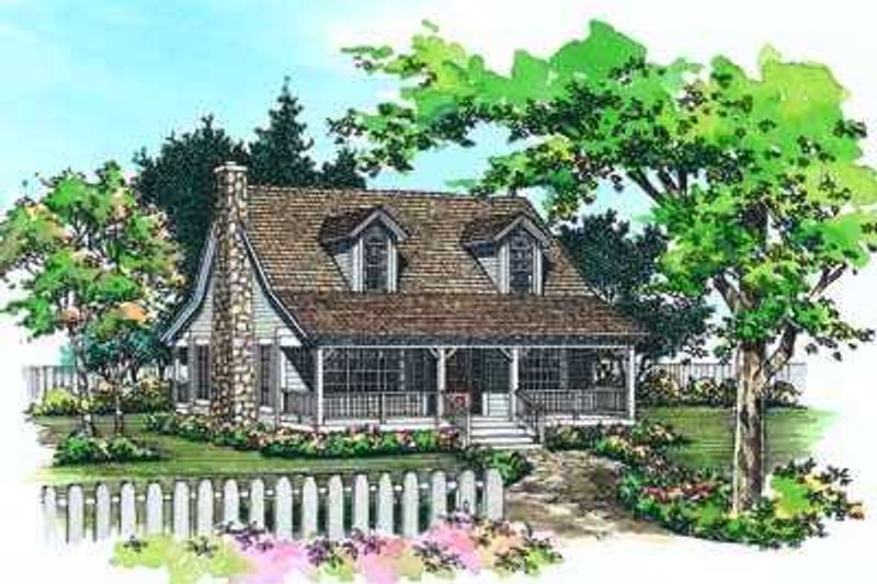 Country Style House Plan - 3 Beds 2 Baths 1673 Sq/Ft Plan #72-108 Exterior - Front Elevation