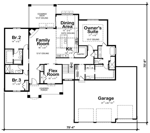 Craftsman Floor Plan - Main Floor Plan #20-2401