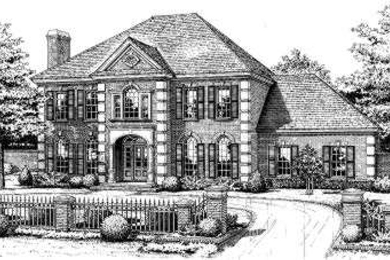 European Style House Plan - 5 Beds 3.5 Baths 3605 Sq/Ft Plan #310-222 Exterior - Front Elevation