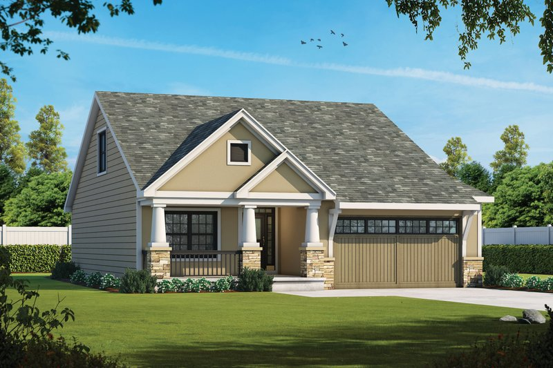 Cottage Exterior - Front Elevation Plan #20-2387