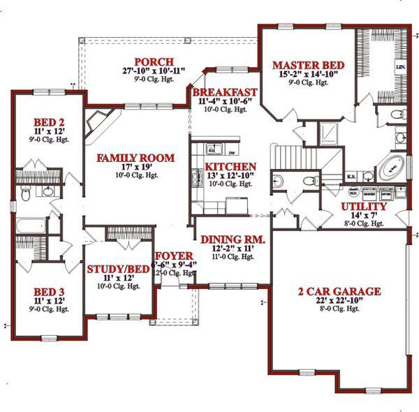 Traditional Floor Plan - Main Floor Plan Plan #63-203