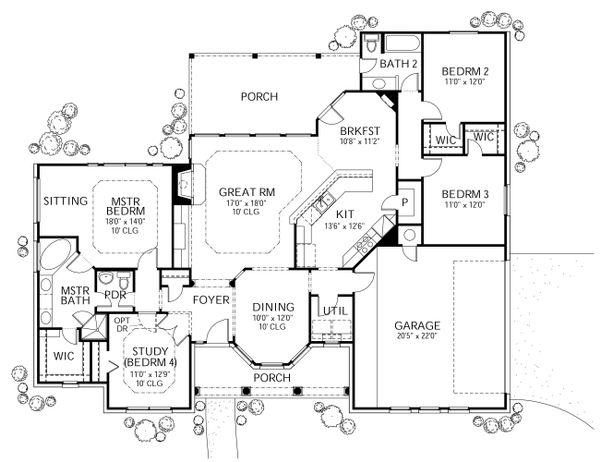 Dream House Plan - Traditional Floor Plan - Main Floor Plan #80-116