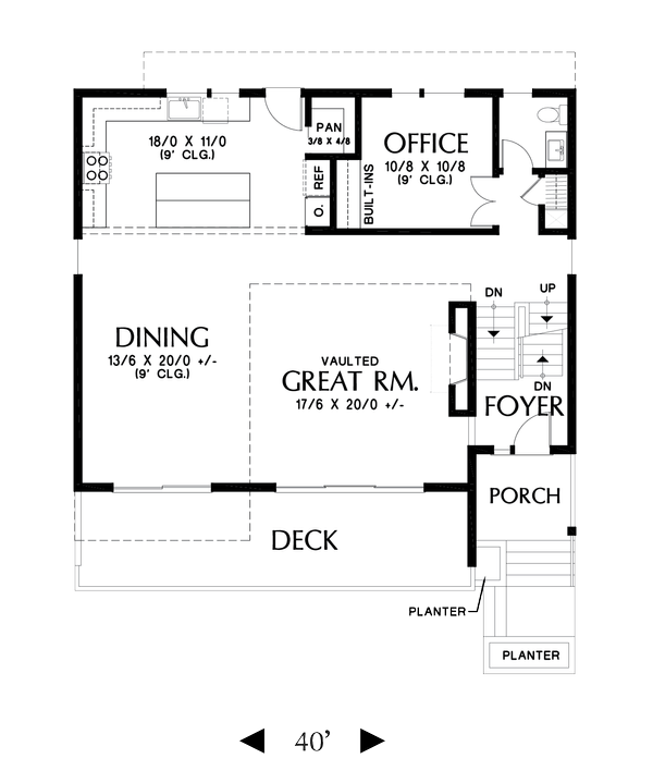 Contemporary Floor Plan - Main Floor Plan Plan #48-1009