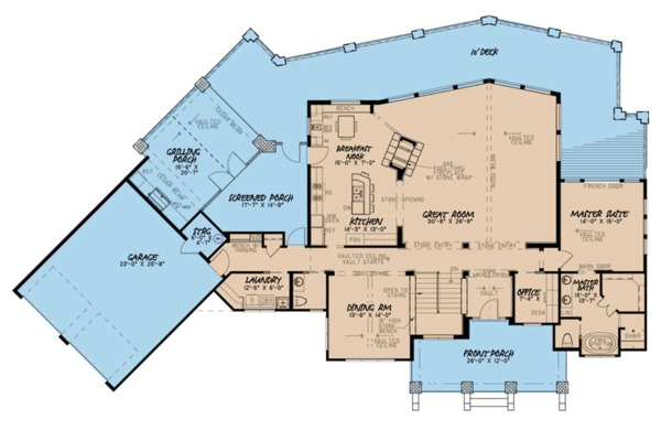 Contemporary Floor Plan - Main Floor Plan Plan #923-86