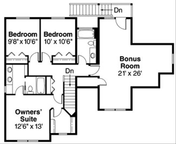 Craftsman Floor Plan - Upper Floor Plan Plan #124-623