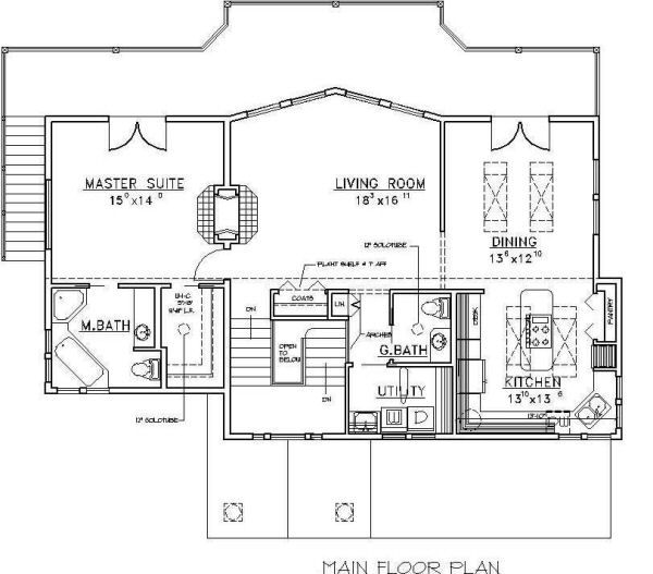 Beach Floor Plan - Main Floor Plan Plan #117-527