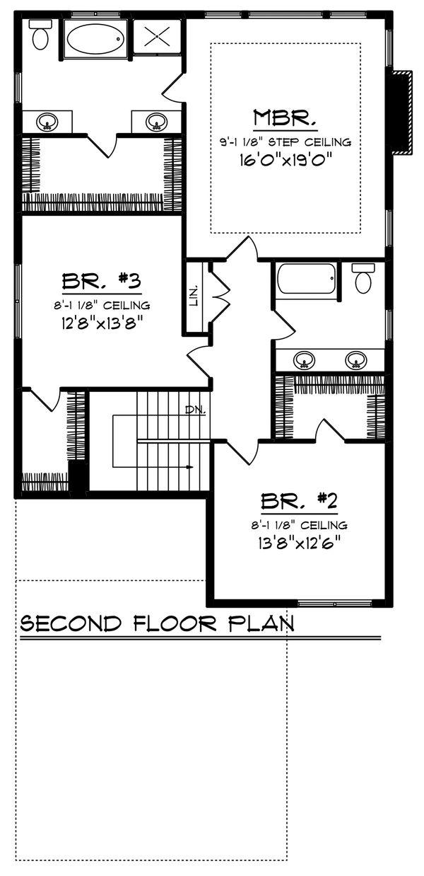 Craftsman Floor Plan - Upper Floor Plan Plan #70-1221