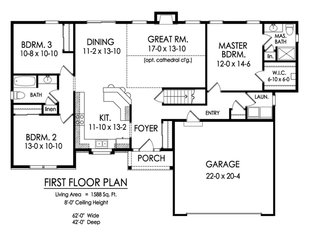 Ranch Style House Plan - 2 Beds 2 Baths 1588 Sq/Ft Plan #1010-4 on double wide addition plans, 40' wide home plans, wide shaped homes plans, wide mobile homes, wide building,
