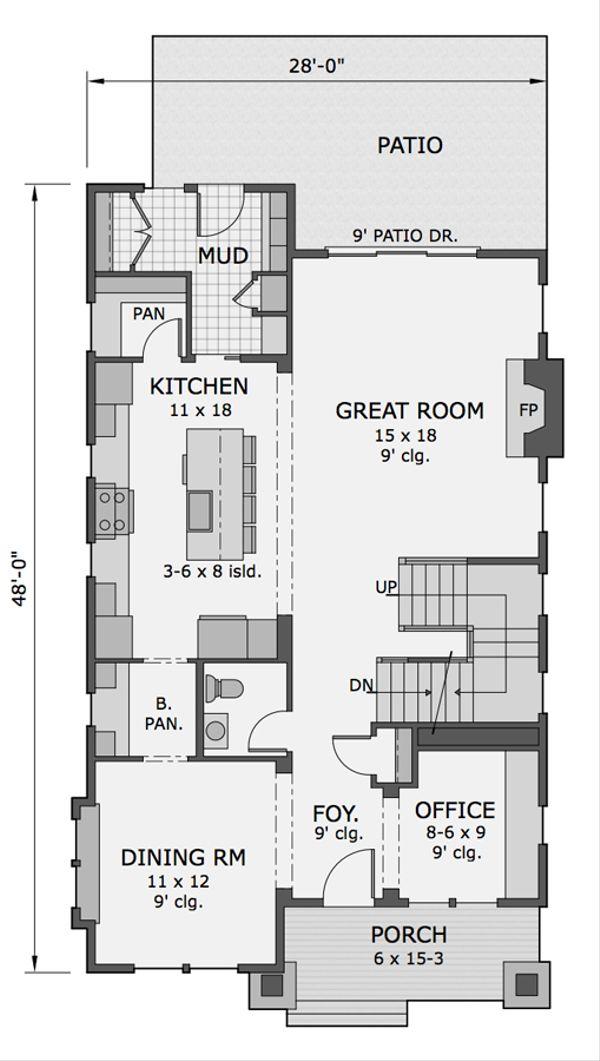 Craftsman Floor Plan - Main Floor Plan Plan #51-566