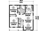 Country Style House Plan - 2 Beds 1 Baths 1014 Sq/Ft Plan #25-4448 Floor Plan - Main Floor Plan