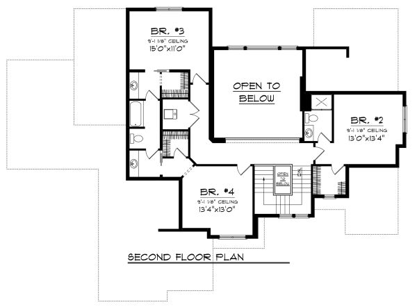 Tudor Floor Plan - Upper Floor Plan Plan #70-1141