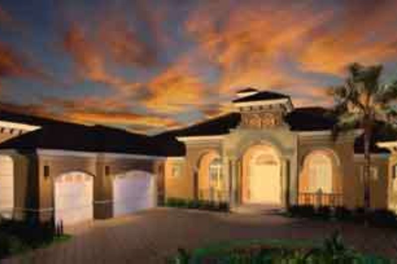 European Style House Plan - 4 Beds 4.5 Baths 4928 Sq/Ft Plan #27-327 Exterior - Front Elevation